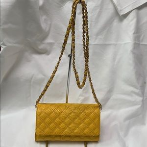 Yellow crossbody bag with chain strap